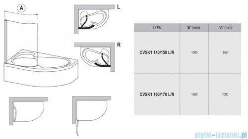 Ravak Rosa Chrome CVSK1 parawan nawannowy 140/150 prawy biały transparent 7QRM0100Y1