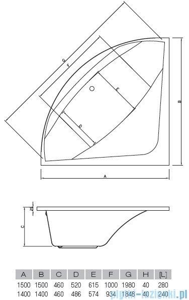 Vayer Bumerang 150x150cm Wanna symetryczna rysunek techniczny