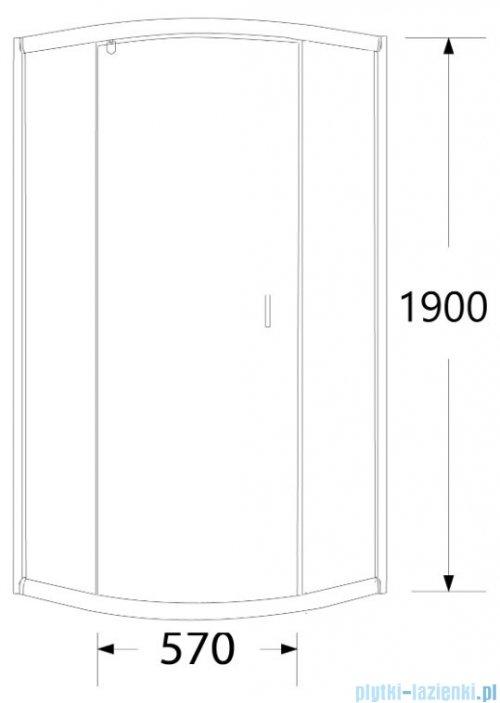 Sea Horse Stylio kabina natryskowa półokrągła jednoskrzydłowa 80x80x190 cm grafit BK501RG+