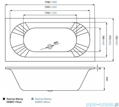 Massi Ember wanna prostokątna 170x75 cm MSWT-EM-001170
