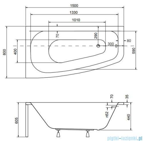 Besco Luna 150x80cm wanna asymetryczna lewa + obudowa + syfon
