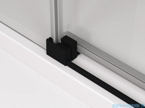 SanSwiss Cadura Black Line drzwi przesuwne 110cm jednoskrzydłowe lewe z polem stałym profile czarny mat CAS2G1100607