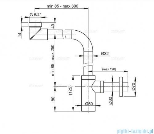Alcaplast półsyfon umywalkowy DN32 DESIGN metalowy, małogabarytowy A403