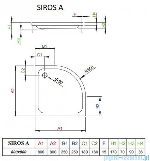 Radaway Brodzik półokrągły Siros A 80x80 na podstawie styropianowej SBA8817-1