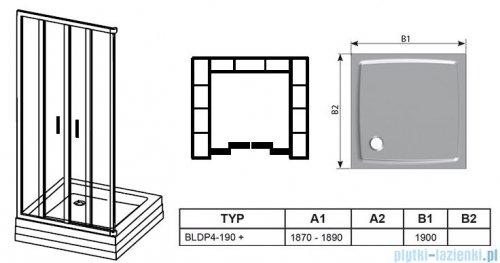 Ravak Blix BLDP4 drzwi prysznicowe 190cm białe grape Anticalc 0YVL0100ZG