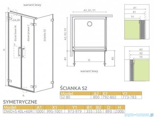 Radaway Arta Dwd+s kabina 100 (40L+60R) x80cm lewa szkło przejrzyste 386180-03-01L/386054-03-01R/386110-03-01