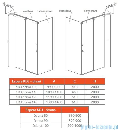 Radaway Espera KDJ S Ścianka boczna 100 prawa szkło przejrzyste 380140-01R
