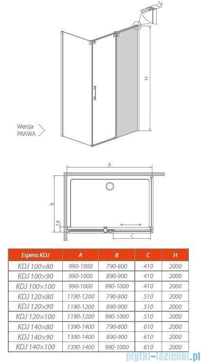 Radaway Espera KDJ Mirror kabina prysznicowa 120x80 prawa szkło przejrzyste 380595-01R/380232-71R/380148-01L
