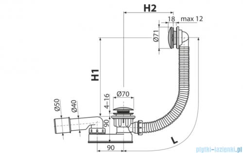 Alcaplast  syfon wannowy klik-klak, chrom A507KM