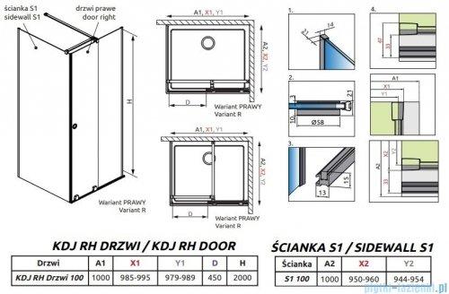 Radaway Furo Black KDJ RH kabina 100x100cm prawa szkło przejrzyste 10104492-54-01RU/10110510-01-01/10113100-01-01