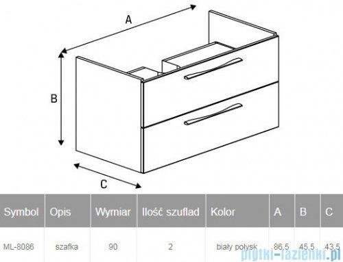 New Trendy Notti szafka umywalkowa 90 cm biały połysk ML-8086