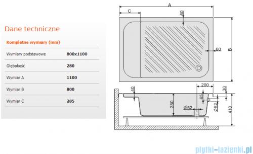 Sanplast Classic brodzik prostokątny 110x80x28cm z siedziskiem+stelaż 615-010-0530-01-000