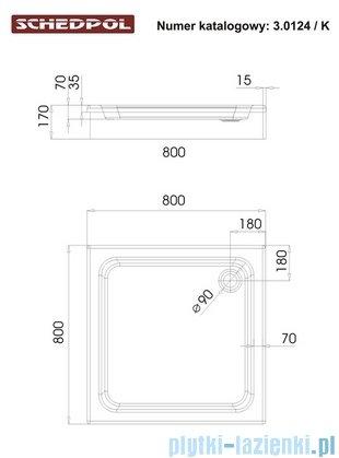 Schedpol Grando Plus Brodzik kwadratowy 80x80x17cm 3.0124