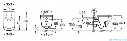 Roca Gap Rimless MaxiClean miska WC wisząca + deska wolnoopadająca Slim rysunek techniczny