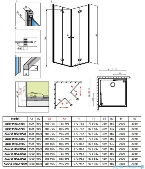 Radaway Fuenta New Kdd-B kabina 80cm część lewa szkło przejrzyste 384070-01-01L