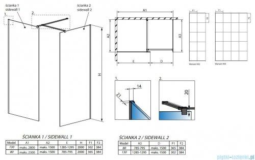 Radaway Modo New Black III kabina Walk-in 130x80x200 Frame rysunek techniczny
