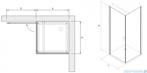 Clusi Temida kabina kwadratowa 80x80x200 cm przejrzyste lewa 3329TEM80L
