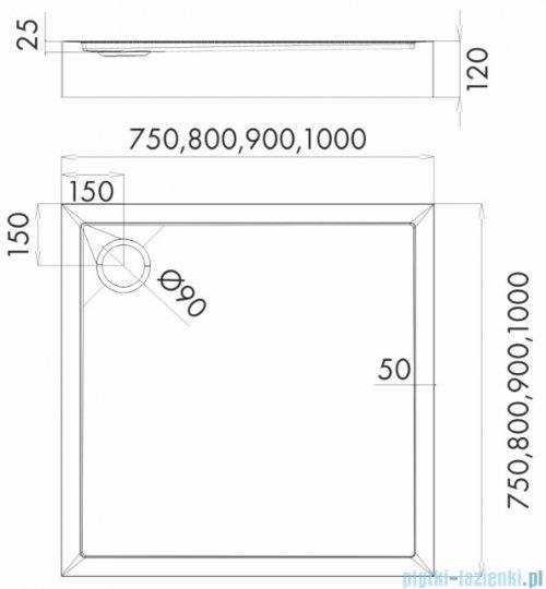 Schedpol Competia New brodzik kwadratowy z SafeMase 80x80x12cm 3.4630