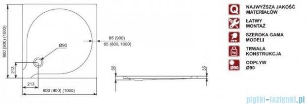 Aquaform Delta brodzik kwadratowy superpłytki 90x90x3,5cm 06908