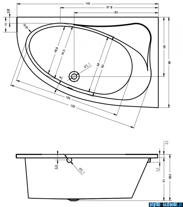 Riho Lyra Wanna asymetryczna 140x90 lewa + nóżki + syfon BA66/08/AMC55