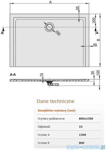 Sanplast Brodzik prostokątny Space Mineral 130x80x1,5cm + syfon 645-290-0360-01-000