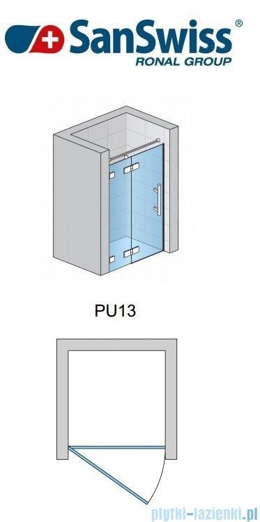 SanSwiss Pur PU13 Drzwi 1-częściowe wymiar specjalny profil chrom szkło Krople Lewe PU13GSM21044