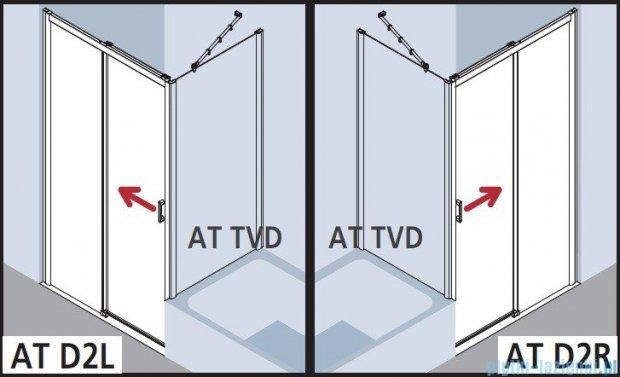 Kermi Atea Drzwi przesuwne bez progu, prawe, szkło przezroczyste, profile białe 130x185 ATD2R130182AK