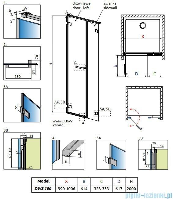 Radaway Arta Dws drzwi wnękowe 100cm lewe szkło przejrzyste 386628-03-01L/386091-03-01L