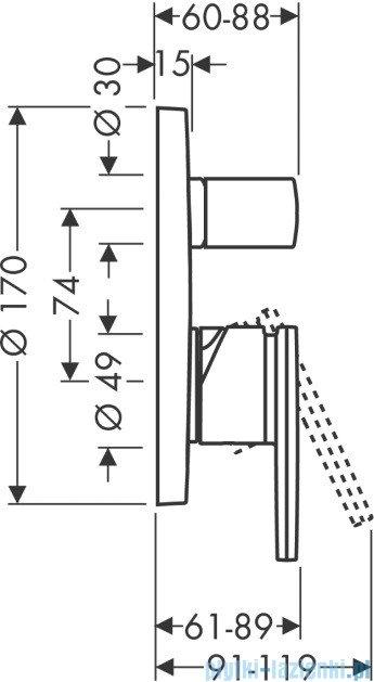 Hansgrohe Axor Citterio Jednouchwytowa bateria wannowa montaż podtynkowy 39455000