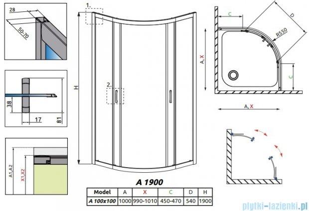 Radaway Premium Plus A Kabina półokrągła 100x100x190cm szkło przejrzyste 30423-01-01N