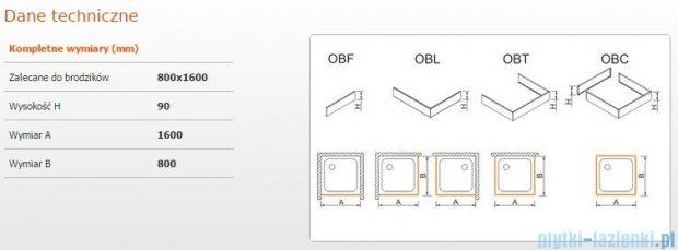 Sanplast Obudowa brodzika OBL 80x160x9 cm 625-400-1390-01-000