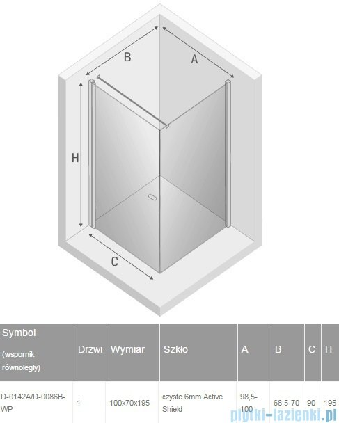 New Trendy New Soleo 100x70x195 cm kabina wspornik krzyżowy przejrzyste D-0142A/D-0086B-WP
