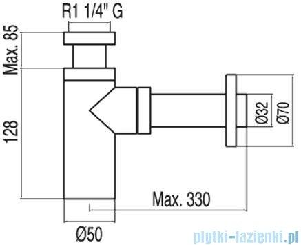 Tres Teleskopowy zewnętrzny syfon umywalkowy kolor chrom 1.34.634.10