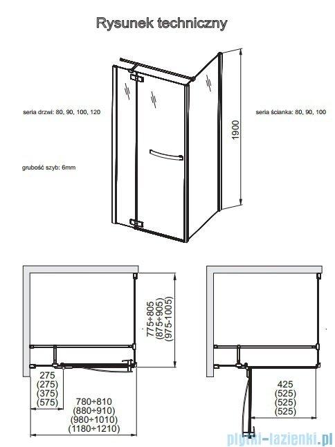 Aquaform HD Collection drzwi uchylne lewe 90cm przejrzyste 103-09390