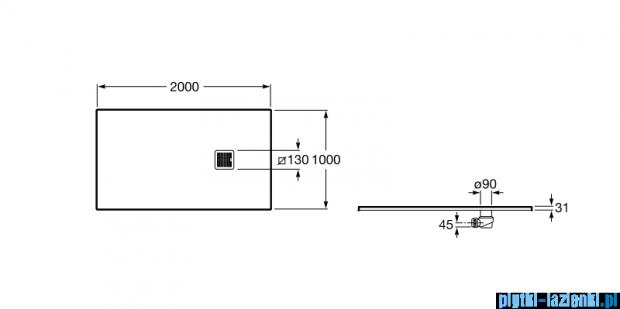 Roca Terran 200x100cm brodzik prostokątny konglomeratowy szary cementowy AP017D03E801300