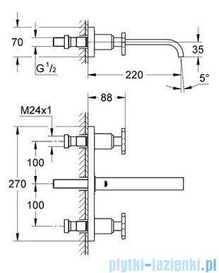 Grohe Allure 3-otworowa bateria umywalkowa DN 15 wylewka 220 mm chrom 20192000