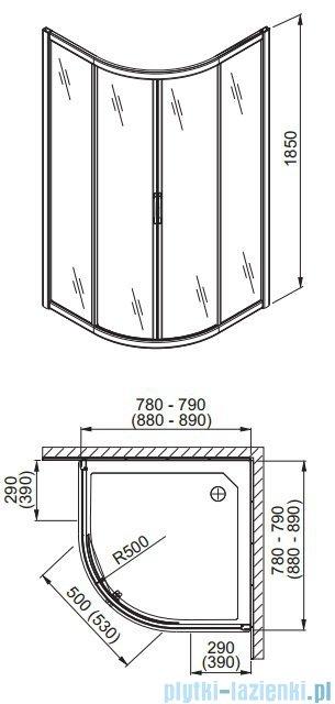 Aquaform Havana kabina prysznicowa półokrągła przejrzyste 80x80cm 06120