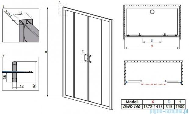 Radaway Premium Plus DWD Drzwi wnękowe 140 szkło brązowe 33353-01-08N