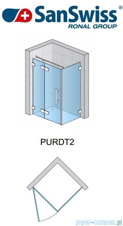 SanSwiss Pur PURDT2 Ścianka boczna 100-160cm profil chrom szkło Pas satynowy PURDT2SM41051