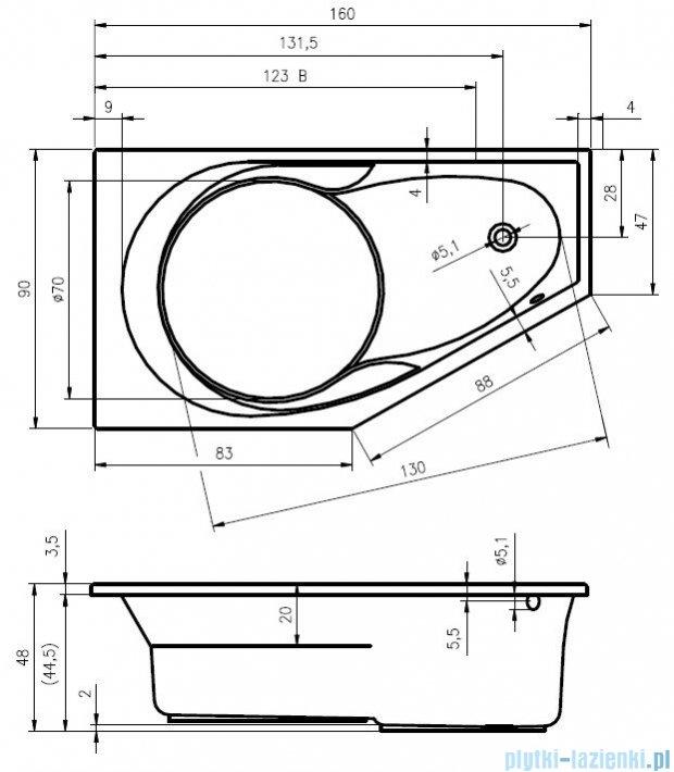 Riho Yukon wanna asymetryczna 160x90 prawa z hydromasażem TOP Hydro 6+4+2 BA34T2