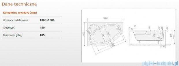 Sanplast Comfort Wanna asymetryczna lewa+stelaż WAL/CO 160x100+ST5 610-060-0340-01-000