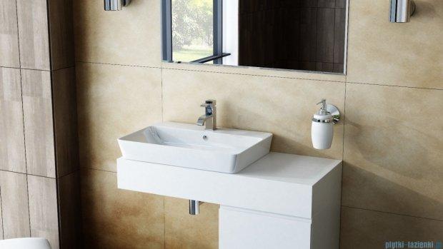 Antado Combi szafka z blatem lewym i umywalką Bali biały/jasne drewno ALT-140/45GT-WS/dn+ALT-B/2L-1000x450x150-WS+UCS-TC-65