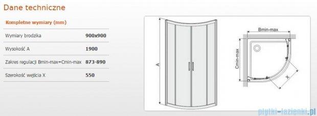 Sanplast kabina narożna półokrągła KP4/TX5b-90 90x90x190 cm szkło W15 600-271-0262-38-231