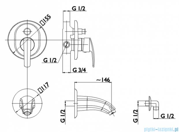 KFA RUBIN bateria wannowa podtynkowa (element sterujący), kolor CHROM   569-410-00