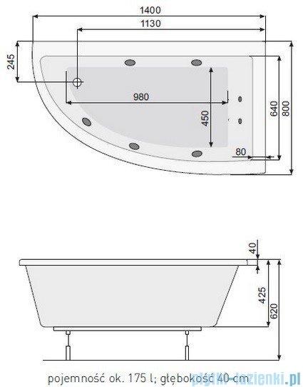 Poolspa Wanna asymetryczna LAURA 140x80 prawa + hydromasaż Smart 1 PHANK10ST1C0000