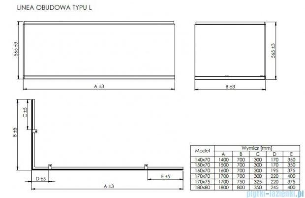 Roca Linea obudowa typu L do wanny 180x80cm lewa A25T023000