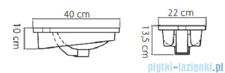 Cerastyle Mini umywalka 40x22cm meblowa 071000-u