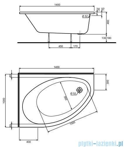 Koło Elipso Wanna asymetryczna 140x100cm Lewa XWA0641