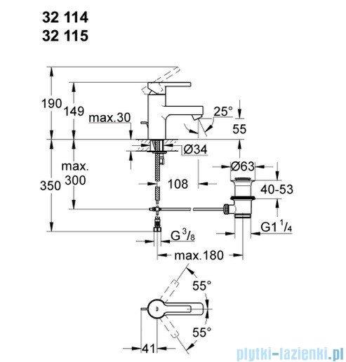 Grohe Lineare bateria umywalkowa DN 15 z korkiem 32115000