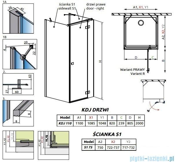 Radaway Essenza New Kdj+S kabina 75x110x75cm prawa szkło przejrzyste 385023-01-01R/384049-01-01/384049-01-01